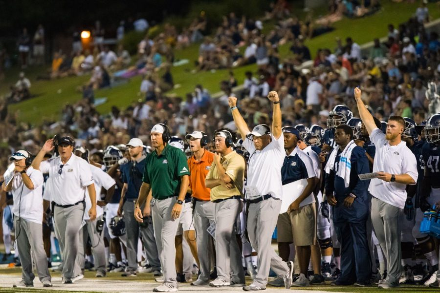 Head+Coach+Chad+Lunsford+celebrates+after+a+31-6+victory+over+South+Carolina+State.+The+Eagles+head+to+Clemson+this+week+for+the+first+time+in+school+history