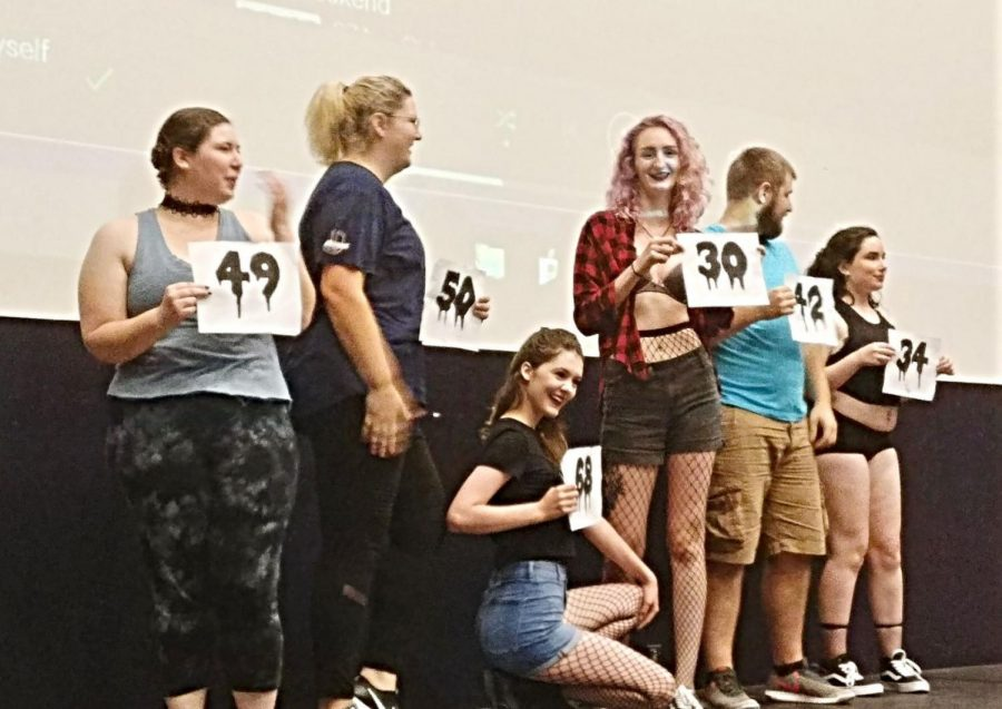 Several auditioners return to the stage with their numbers before the next competition. Over 83 people went through a rigerous process to find the best people for the parts for the zany and memborable rolls of Rocky Horror.