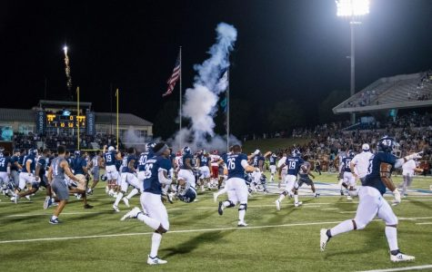 The Eagles football team stormed the field after beating Arkansas State 28-21.