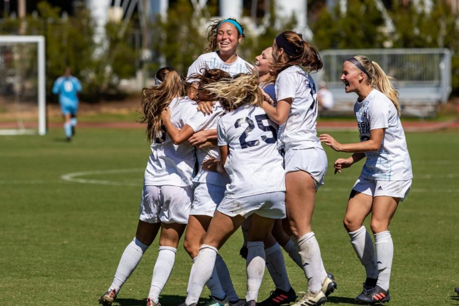 The+women%27s+soccer+team+celebrates+a+goal+in+the+2-0+victory+over+Louisiana+Sunday.+The+Eagles+will+travel+to+Arkansas+for+their+final+two+regular+season+games+this+weekend.%C2%A0