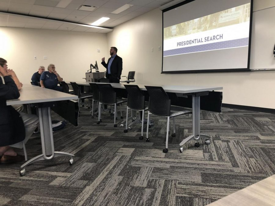 Led by Chair Dustin Anderson, the Georgia Southern Search and Screen Committee held its second Statesboro listening session for the presidential search Thursday night. Anderson encouraged everyone to help with the search process by filling out the presidential survey on GS' website.