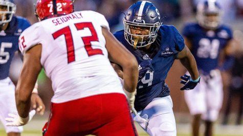 Senior defensive end Logan Hunt had nine tackles in Saturday