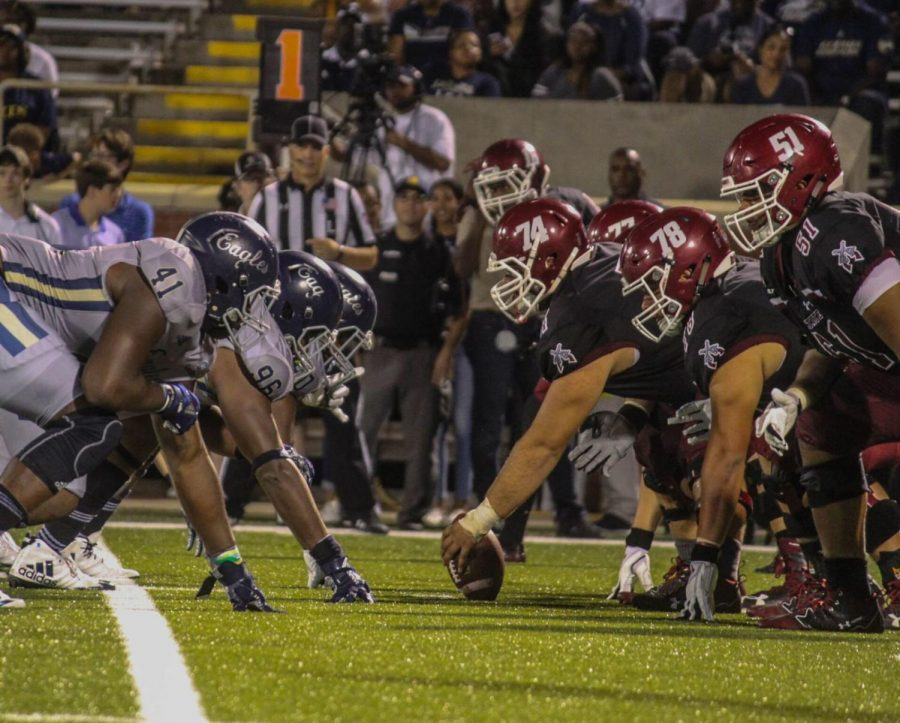The Eagles and Aggies played on GS' homecoming last season where New Mexico State won 35-27.