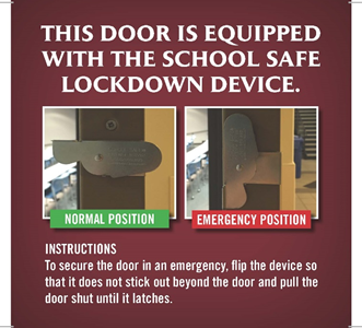 According to the Office of Public Safety's website, to secure the door in an emergency, the lock is flipped into the emergency position, so that it does not stick out beyond the door and the door is pulled shut until it latches. When not in use, the lock should remain in the normal position.
