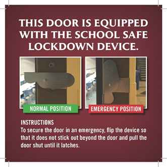 According+to+the+Office+of+Public+Safety%27s+website%2C+to+secure+the+door+in+an+emergency%2C+the+lock+is+flipped+into+the+emergency+position%2C+so+that+it+does+not+stick+out+beyond+the+door+and+the+door+is+pulled+shut+until+it+latches.+When+not+in+use%2C+the+lock+should+remain+in+the+normal+position.