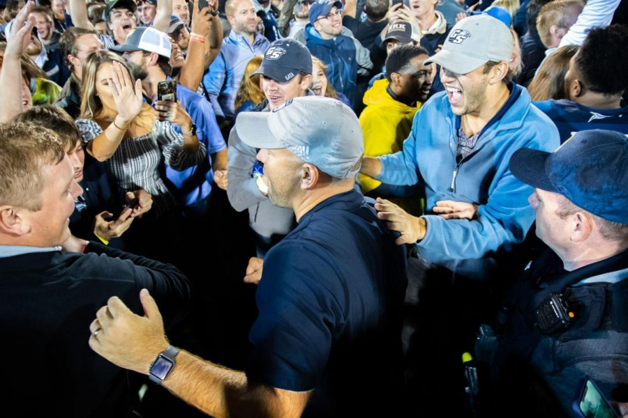 Head+coach+Chad+Lunsford+gets+swarmed+by+fans+following+the+win+against+Appalachian+State.+Lunsford+has+accumulated+%2415%2C000+this+season+in+bonuses.%C2%A0