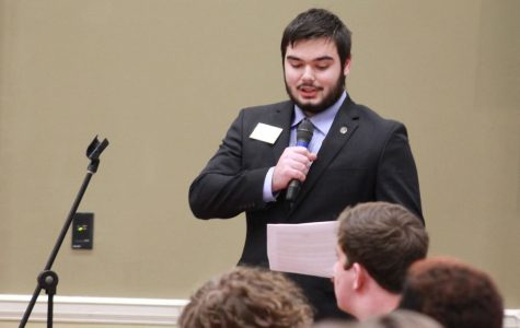 Tyler Tyack, Armstrong/Liberty campus senate speaker, read a resolution approved by the Armstrong/Liberty campus Student Government Association. The resolution address concerns and requests that commencement changes be reversed. The resolution also asks that future committees related to commencement change consist of equal parts students and faculty.