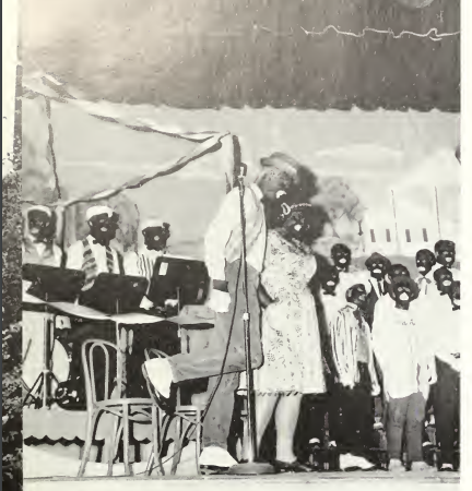 A 'mistril show' performance captured in a 1963 Reflector yearbook. The people as well as the picture's photographer are not captioned.