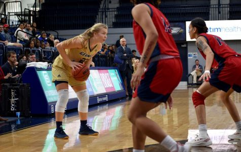 Sophomore guard Tatum Barber (23) led the Eagles in past game againstUniversity of Louisiana Lafayette with 20 points and 13 rebounds on the night.