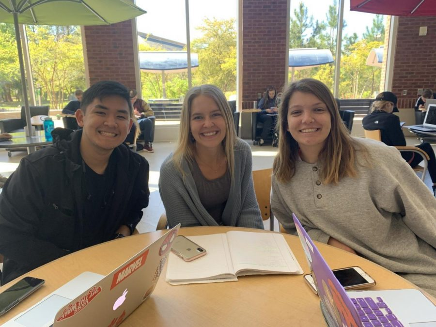 Students on Georgia Southern's Statesboro campus reacted to the announcement of a Publix grocery store being built in Statesboro. From left to right: Anthony Olivo, Stephanie Riddle, Brianna Lingerfelt