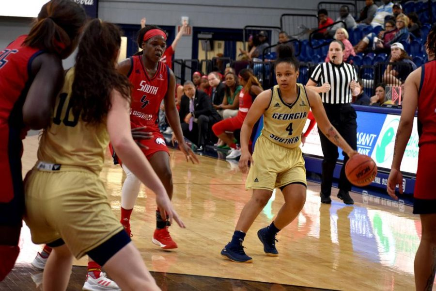 Junior guard AlexisBrown (4) has shot an average 0.416 percent from the floor on the 2018-19 season as well as 0.354 on three-pointers.