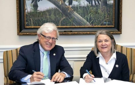Georgia Southern University president Shelley Nickel and East Georgia State College president Robert Boehmer sat down last week to sign a renewed agreement between the two institutions.