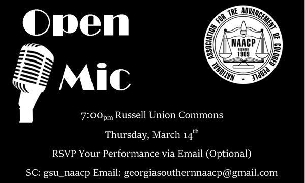 Georgia Southern's NAACP chapter is prepared to host its annual Open Mic night in the Russell Union Commons on Thursday, March 14.