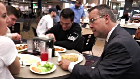 The new president likes burritos and getting to know students on an individual level. Marrero stopped for lunch in the Dining Commons and joined in on a conversation with three students.