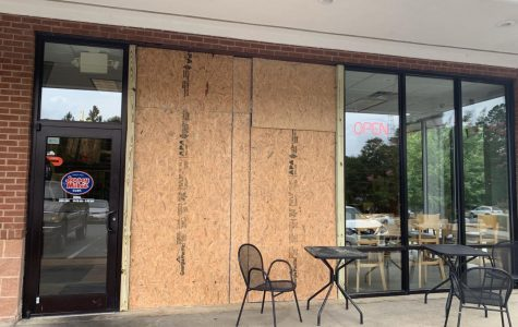A car drove through the store front of Jersey Mike's in Statesboro Wednesday. No one was majorly injured and repairs are already underway.