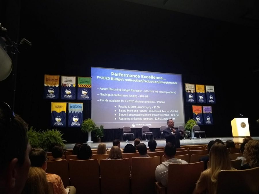Georgia Southern University President Kyle Marrero addressed the university's budget for FY20 at the State of the University Wednesday in Statesboro.