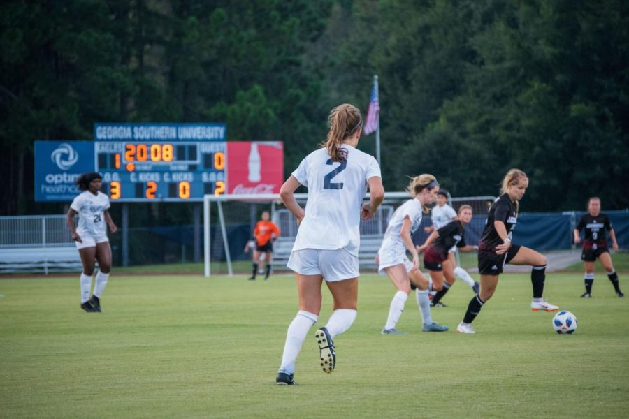 Elsa Borjesson (2) has returned for her senior season as a defender for the Eagles.