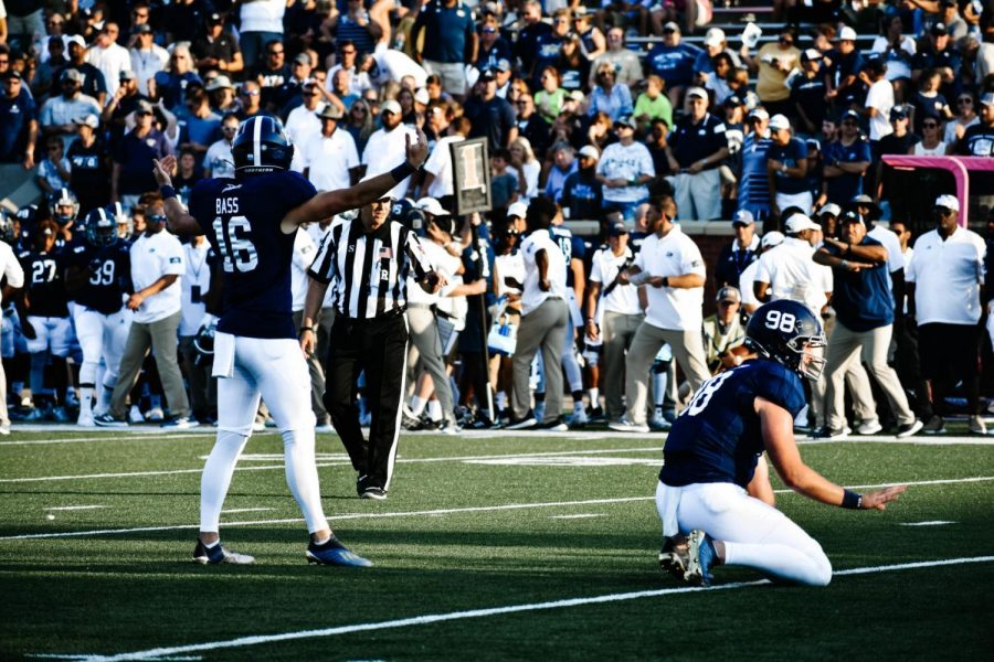 Bass (16) needs to hit just one more career field goals of 40 yards or longer to give him 23- allowing him to set a new school record in the category.