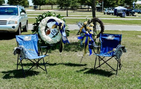 The Hagan's tailgate spot was decorated in honor of Danny and Julie at the home opener against Maine on Sept. 7.