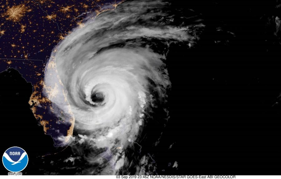 Satellite photo of Hurricane Dorian nearing Florida. Photo from NOAA NWS National Hurricane Center Facebook page.
