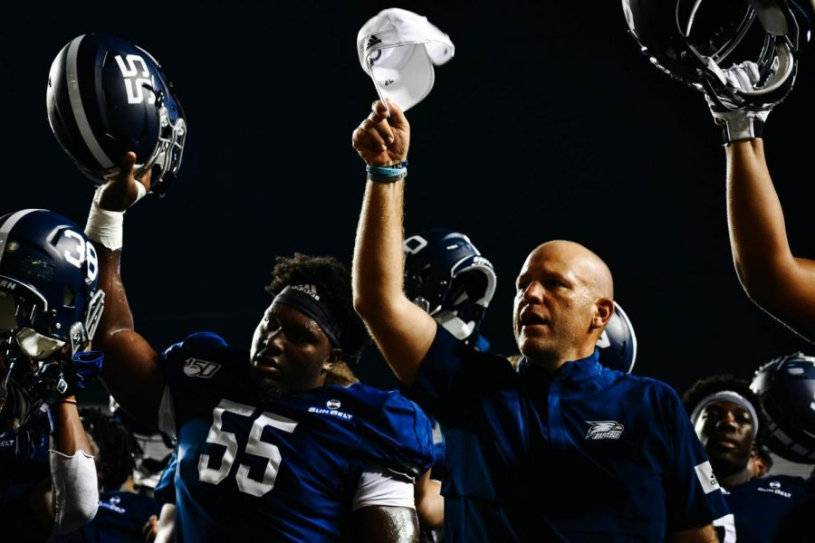 Head Coach Chad Lunsford took the podium to discuss the near-upset over Minnesota.