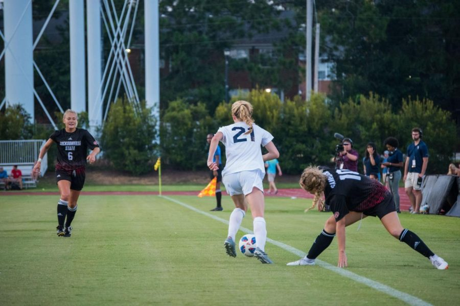 Maddie Klintworth (21) recorded at 100 minutes in the team's match against Gardner-Webb.