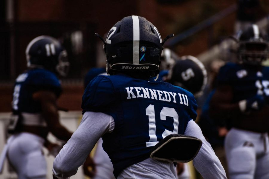 Kennedy (12) collected 222 all-purpose yards against NMSU as well as two rushing touchdowns.