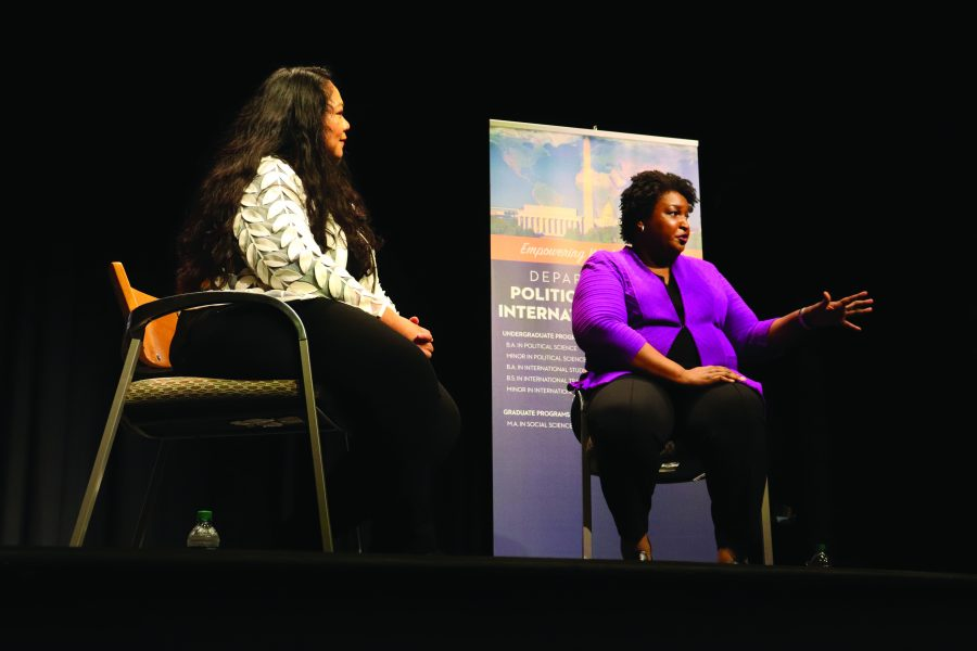 Stacey+Abrams+speaking+to+the+audience+in+Jenkins+Hall+about+voter+registration.+Photo+by+Javanna+Rogers.+