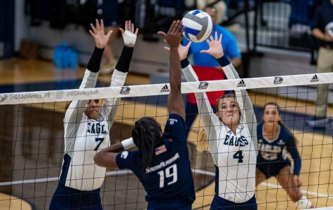 The Georgia Southern volleyball twam will take on UTA and Texas State this weekend.
