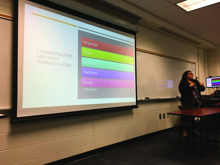 Stephanie Molina talking the audience through the commonalities among Hispanic/Latinx people. Photo by Thuy-Linh Dang.