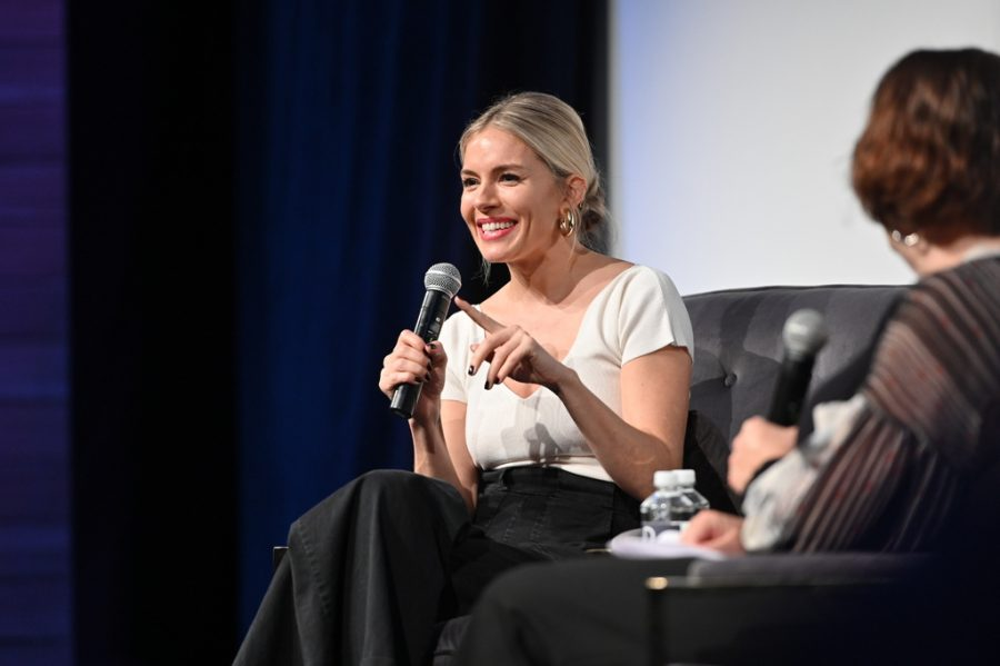"Sienna Miller talking about her film ""American Woman."" Photo from Lauren Peteroy, Scenario PR."