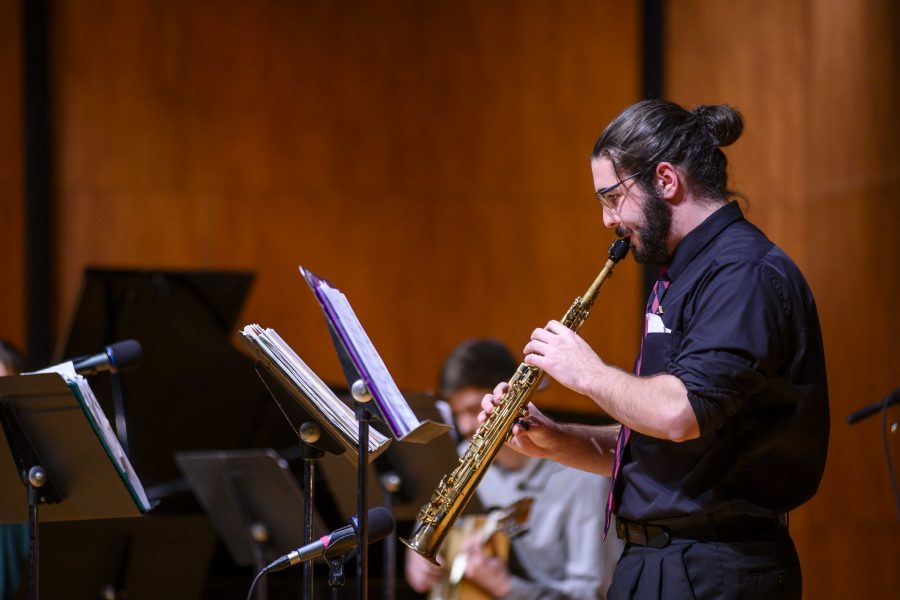 Lukas Sweeney on the soprano saxophone. KATHERINE ARNTZEN/UNIVERSITY COMMUNICATONS AND MARKETING