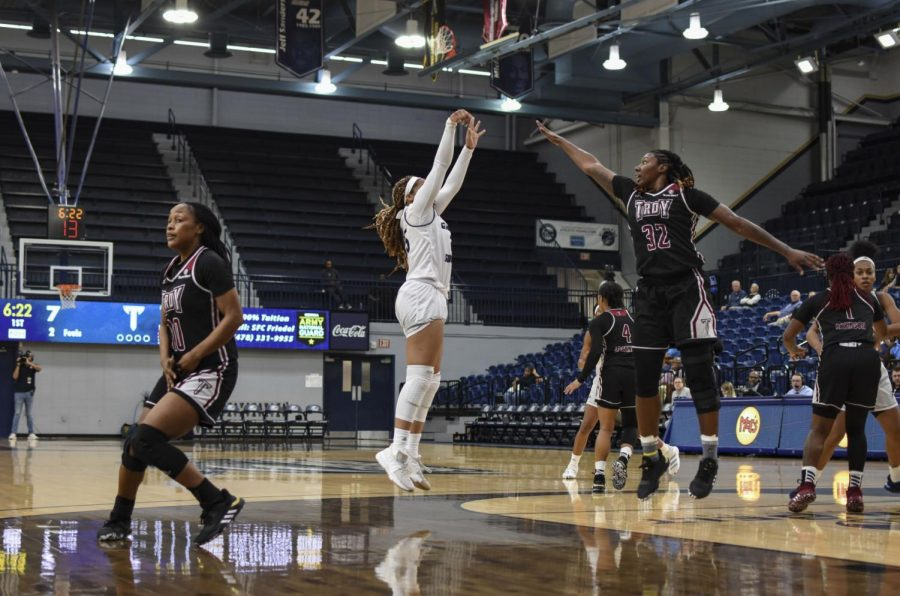 Georgia Southern guard Nikki McDonald has found her presence on the court as a new Eagle and averages about 8 points per game.