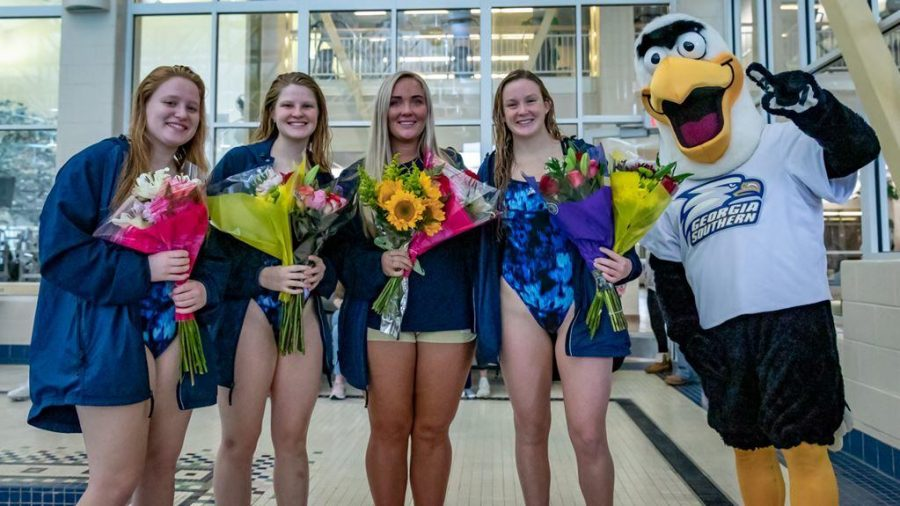 Georgia Southern had its senior day at the last swimming meet of the year honoring Elizabeth Chemey, Markie Duffy, Ashley Kubel and Gretchen Mossburg.