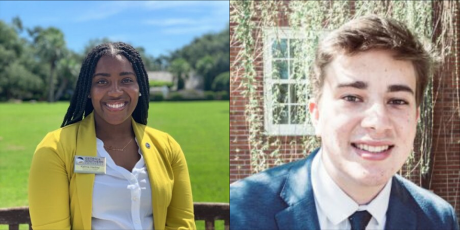 Kahria+Hadley+%28left%29+and+Spencer+DeMink+%28right%29+are+the+SGA+executive+vice+presidents+of+the+Statesboro+and+Armstrong+campuses+respectively.