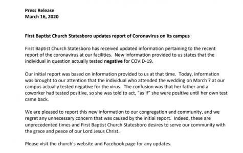 Statesboro church says previous Facebook post about the coronavirus was incorrect