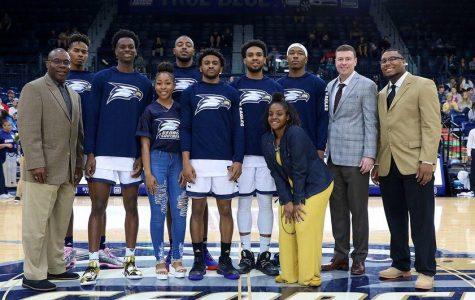 Trey Dawkins, Jordan Walker, Simeon Carter, David Lee Jones Jr., Ike Smith and Isaiah Crawley were honored before the game.
