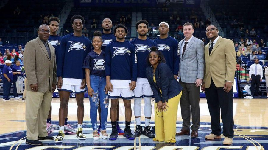 Trey Dawkins, Jordan Walker, Simeon Carter, David Lee Jones Jr., Ike Smith and Isaiah Crawley were honored before the game.