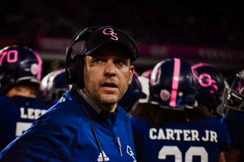 Chad Lunsford is the head coach of the Georgia Southern football team. He is entering his third full season as head coach and has had to halt spring practice as a result of COVID-19.
