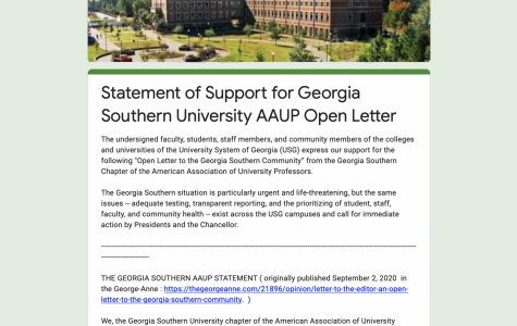 Over 250 people sign statement of support for the AAUP's open letter to Georgia Southern community