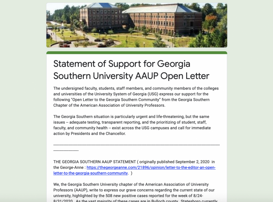 Over+250+people+sign+statement+of+support+for+the+AAUP%27s+open+letter+to+Georgia+Southern+community