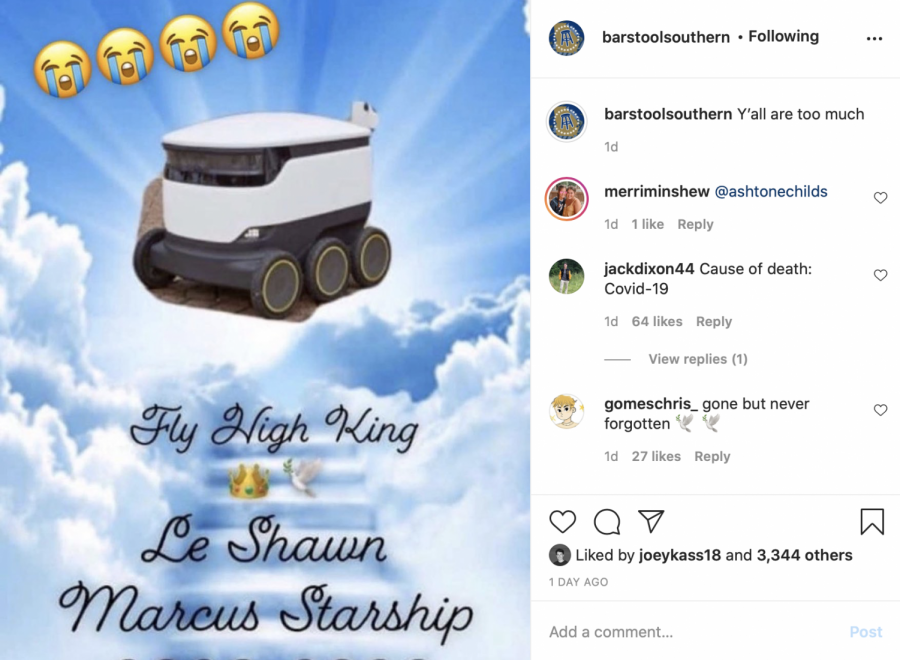 "Students hold vigil for ""fallen"" Starship food delivery robot"