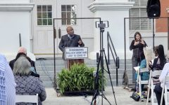 Mayor McCollar addresses the community at a COVID-19 memorial at the Bulloch County Courthouse on April 11. This day marked the one-year anniversary of Bulloch's first death caused by COVID-19.