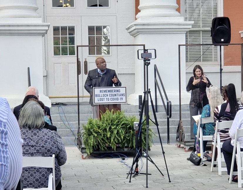 Mayor McCollar addresses the community at a COVID-19 memorial at the Bulloch County Courthouse on April 11. This day marked the one-year anniversary of Bulloch