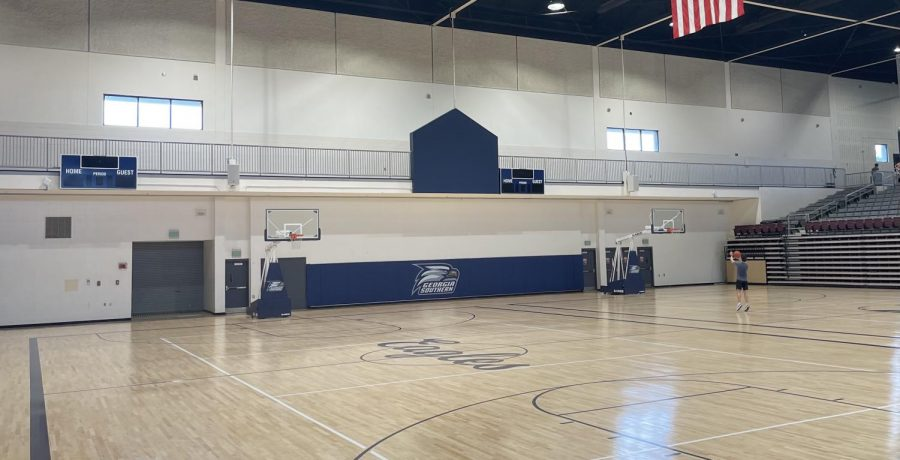 The renovated Armstrong Rec Center basketball court