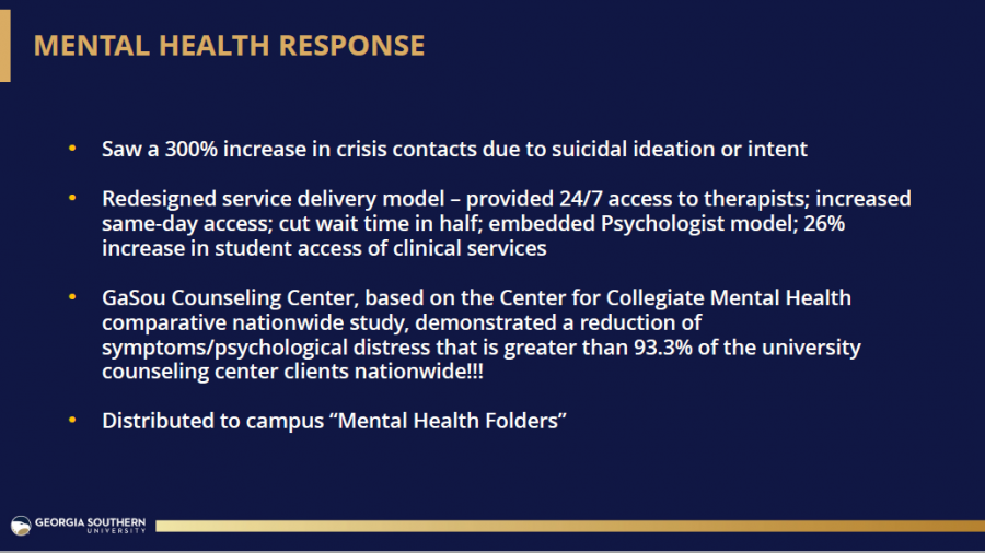 Slide 14 from President Marrero's Fall 2021 State of the University address about the University's Mental Health Response during the 2020-21 academic year