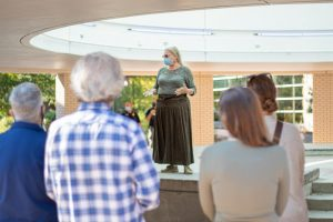 GS professor Rebecca Kennerly calls for more robust COVID-19 protocols on campus. GS' chapter of the AAUP began their first day of protests for mask mandates at the Russell Union Rotunda on September 13, 2021.