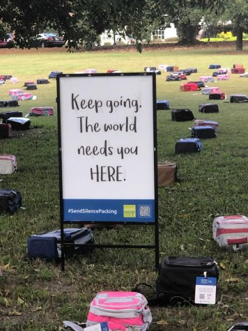 Backpacks fill Sweetheart Circle, encouraging students to speak up and Send Silence Packing